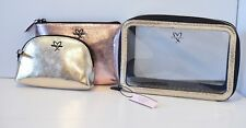Victoria's Secret Pink Silver Makeup Brush Organizer Bag Case Set of 3