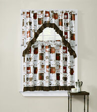 "Cappuccino COMPLETE TIER & VALANCE SET 36"" L KITCHEN CURTAIN  coffee cups"
