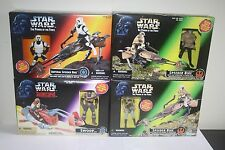STAR WARS POTF2 SPEEDER BIKE LOT ALL MISB NEW SCOUT TROOPER LUKE LEIA SWOOP
