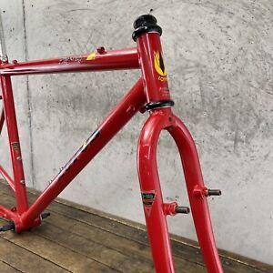 """Vintage Mountain Bike Frame Set 26"""" Lotus Pro Series 80s 90s CRMO 17.5 21 in RED"""