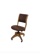 40s Vintage Rolling Swivel Bankers Chair Lawyer Chair Leather Oak Wood USA Made