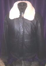 Mens leather jacket with removable lamb wool shearling collar large