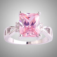 Size L N P R T V Pink & White Topaz Gemstone Silver Ring Emerald Cut Lover Gifts
