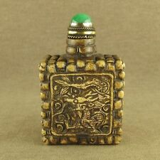 CARVED DRAGON TOTEM CHINESE OLD STONE SNUFF BOTTLE WITH JADE STONE TOP LID
