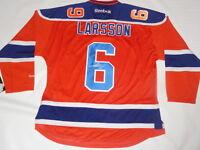 ADAM LARSSON SIGNED EDMONTON OILERS #6 ALTERNATE JERSEY LICENSED JSA COA