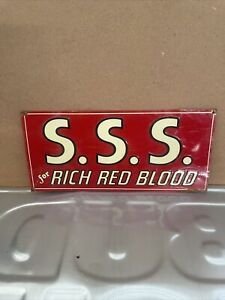 ANTIQUE S.S.S. RICH RED BLOOD TIN SIGN