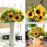 Sunflower Flower Fake Silk Artificial 14 Heads Bouquet Garden Cafe Home Decor
