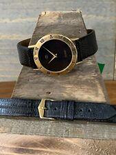 Gucci Black & Gold Watch Two Lizard Bands
