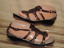 Privo Clarks 8 M Bronze Metallic Leather Open Toe Closed Heel Sandals Buckle