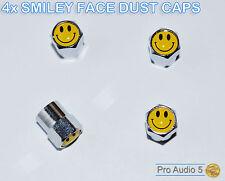 4x Smiley Face Chrome Dust Caps - Valve Caps - Universal Car Van Truck - UK