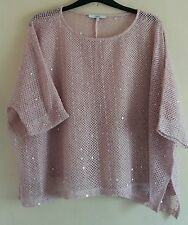 ladies top size 16 pink oversized sequined perfect for summer holidays by Nextl