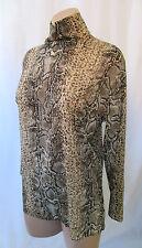 DOLCE&GABBANA Long Sleeve Sheer Chiffon Snake Print Silk Blouse w/ High Neck