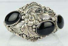 Yvonne Yazzie SIGNED Navajo Sterling Silver Blossom Onyx Cabochon Cuff Bracelet