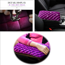 Car Armrest Center Console Pad Pure Plush Seat Center Mat Cushion Cover Purple