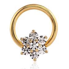 Septum Clicker Gold Plated Surgical Steel Nose Ring Hoop Flower CZ 14 Gauge 14G