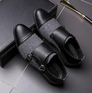 Mens Shoes Business Color Block Faux Suede Patchwork Wedding Pumps Office Buckle