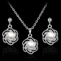 Women Sunflower Rhinestone Crystal Pendant Necklace Earrings Jewellery Set Gift