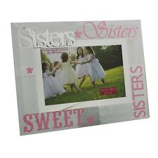 Glass 6 x 4 Photo Frame with Mirror Glass & Glitter Letters - Sisters