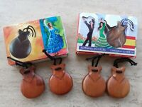 2 sets of Authentic Spanish Wooden Castanets Musical Wood Percussion Instrument