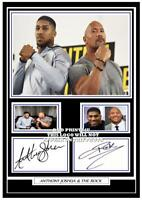 (##56) anthony joshua & the rock  boxing signed a4 photograph reprint great gift