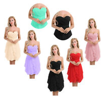 Women Short Bridesmaid Maxi Dress Formal Wedding Evening Ball Gown Party Prom