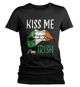 Women's Kiss Me I'm Irish T-Shirt St. Patrick's Day Shirts Graphic Tee Lips Tshi