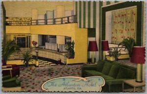 1940s Atlanta, Georgia Postcard THE ATLANTAN HOTEL Lobby Scene Linen Unused