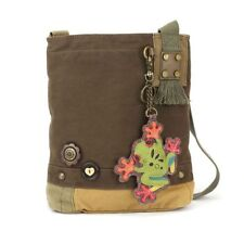 Chala Patch Crossbody FROG  Bag Canvas School Travel Dark Brown & Coin Purse