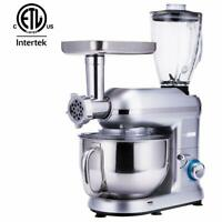 3 In 1 Upgraded Stand Mixer 6QT Stainless Steel Bowl Meat Grinder Blender Silver