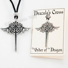 DRAGON NECKLACE DRACULA'S CROSS PENDANT Protective Guarding ORDER of the dragon