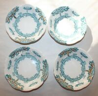 4 Antique Harvard Semi-Porcelain Blue Bowls England Art Nouveau Trees & Flowers