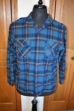 VTG Men's PENDLETON Wool Plaid Field Shirt  100% Virgin Wool  BF XL Blue EUC