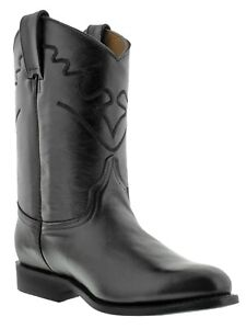Mens Black Western Rodeo Boots Smooth Genuine Leather Cowboy Botas Roper Toe
