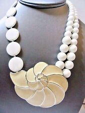 SIGNED TRIFARI WHITE BEADED NECKLACE BEIGE ENAMEL FLOWER LARGE PENDANT RUNWAY