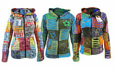 Multicoloured Pixie Elf Hoodie Razor Cut Ribs Symbols Ladies Cotton Jacket Coat