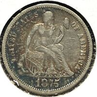 1875-CC 10C Liberty Seated Dime, MM above Bow (60549)