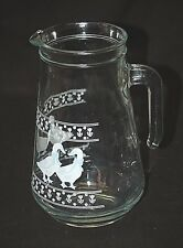 Old Vintage Clear Glass Water Tea Lemonade Pitcher Geese w Blue Floral & Ribbons