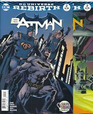 (2016) Dc Comics Batman #2 And #2 Variant Cover First Printing! Rebirth Tom King