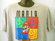 Super Mario Tee Shirt XL Gray Four 4 Faces Yellow Green Blue Red Video Game 2011
