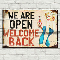 We Are Open Welcome Back Sign Metal Tin Signs / Paper Tiki Bar Pub man cave