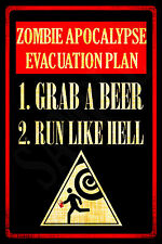 *ZOMBIE APOCALYPSE* MADE IN USA! METAL SIGN 8X12 WALKING DEAD FUNNY BAR MAN CAVE