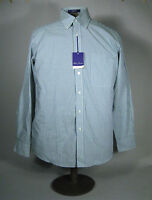 Alan Flusser Mens Shirt Size M Medium Classic Fit Cotton Plaid Blue Long Sleeve