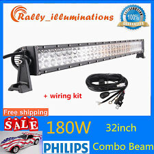 32inch 180W LED Light Bar S&F Combo Driving Off-Road Truck 4X4WD+1PCS Wiring Kit