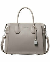 MICHAEL MICHAEL KORS MERCER BELTED PEBBLED LEATHER SATCHEL PEARL GREY - NWT $358