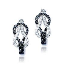 Sterling Silver Black and White CZ Rows Open Love Knot Pierced Drop Earrings