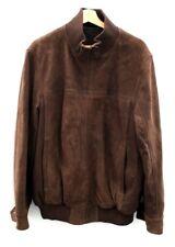 Men's BLUE HARBOUR Brown Genuine Leather Zip Up Jacket Coat UK Size XL R09