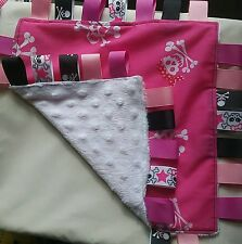 Pink BABY snuggly tag blanket taggie white dimple skull crossbones goth
