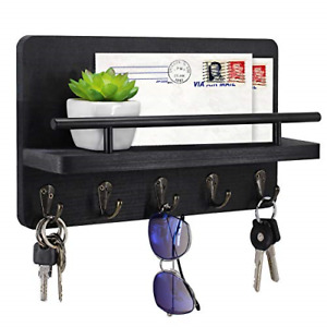 Key Holder and Mail Shelf Wall Mounted, Decorative Wooden Mail Organizer with 5