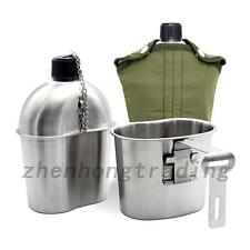 Outdoor Military Stainless Steel Canteen + Cup Army Kit Green Nylon Cover