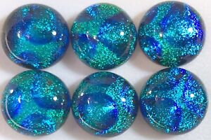 Lot of 6 Petite BUBBLE Ocean BLUE Fused Glass DICHROIC Cabs NO HOLE Bead Flat Bk